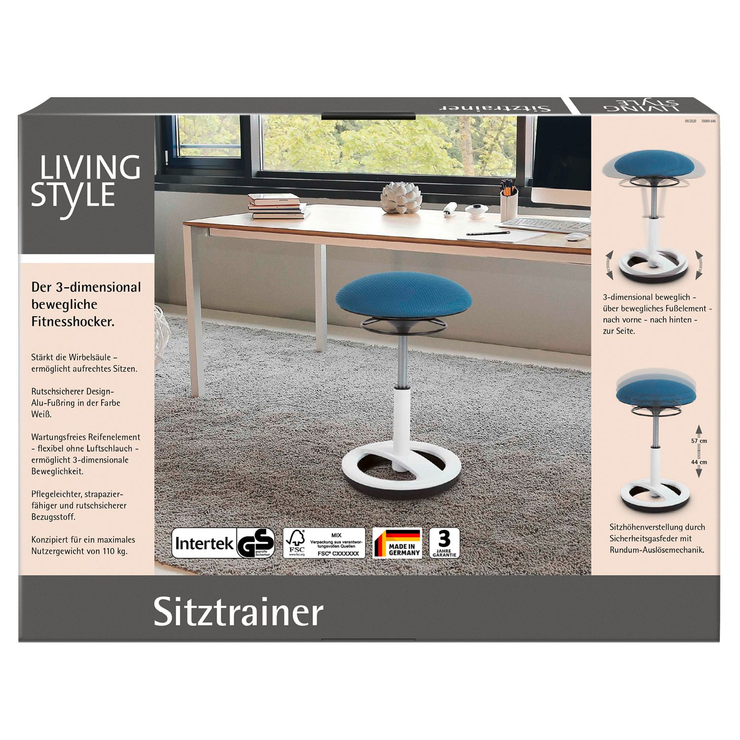 Living Style Sitztrainer Weiss / Petrol*