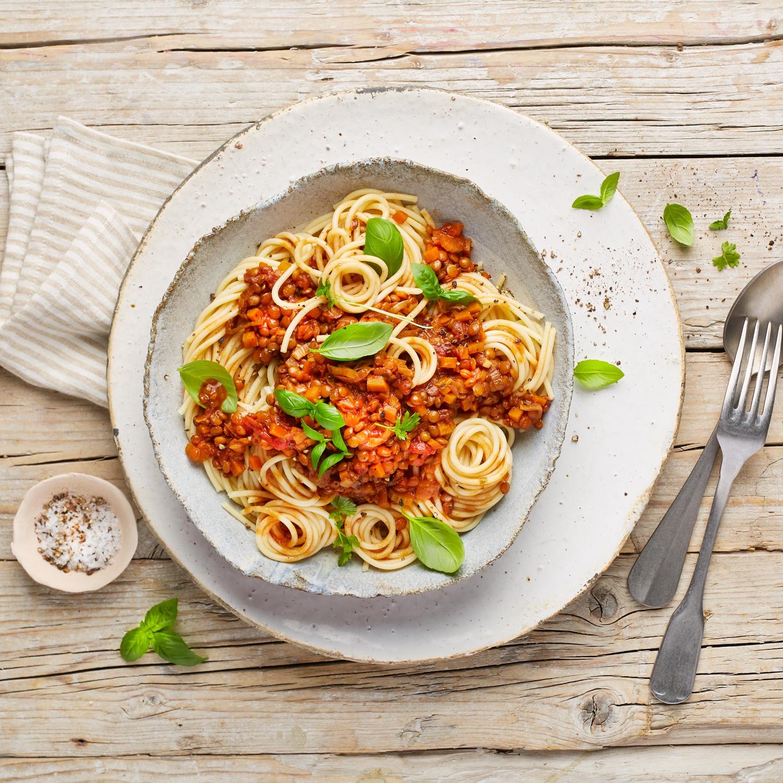 Spaghetti mit Linsen-Bolognese