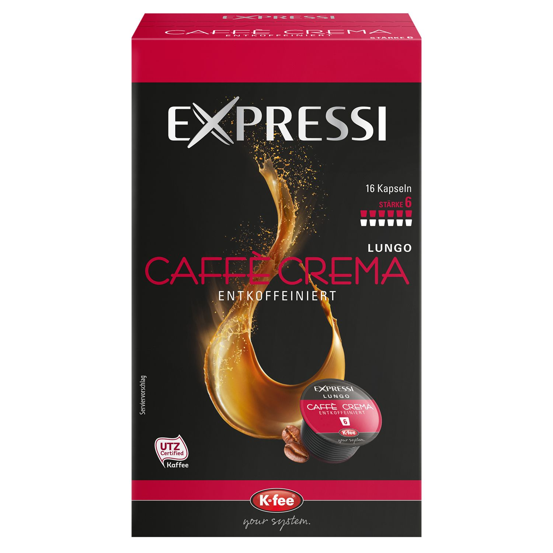 EXPRESSI Caffè Crema Entkoffeiniert 16 Kapseln