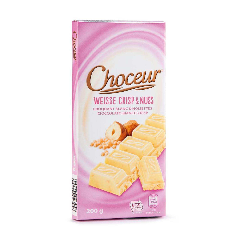 CHOCEUR Weiße Schokolade, Haselnuss-Crisp