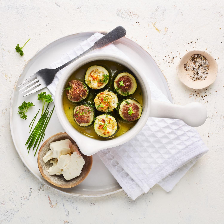 Gefüllte Zucchini mit oder ohne Hackfleisch