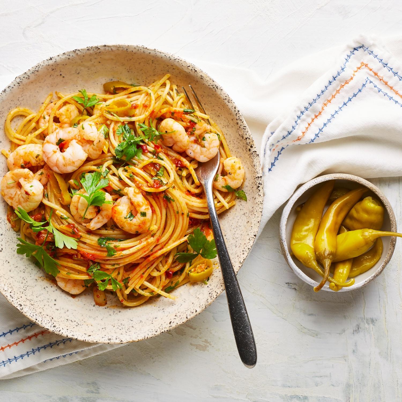 Spaghetti Aglio Olio Peperoncino mit Garnelen