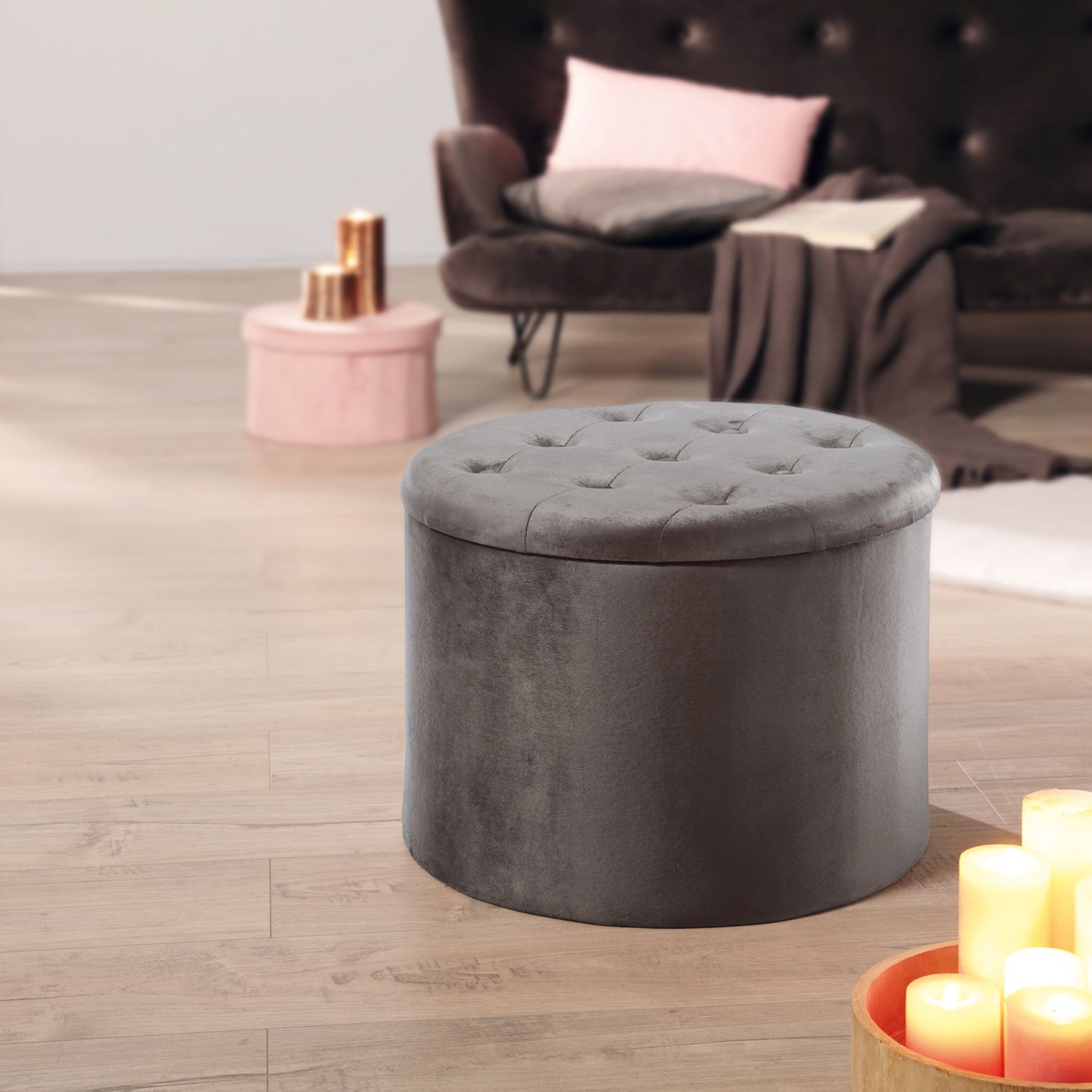Living Style Pouf in Samt-Optik*
