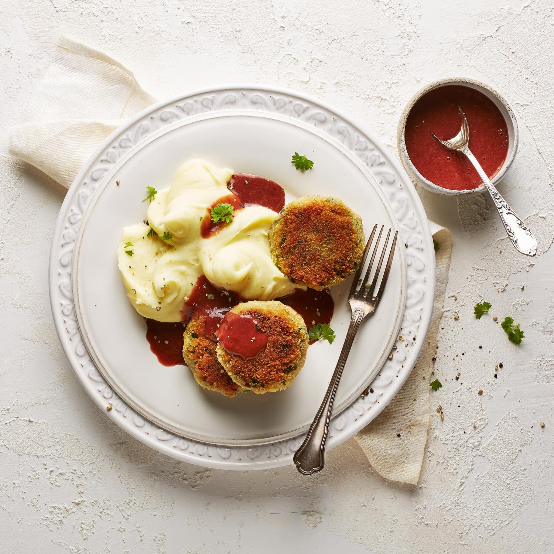 Vegane Pilzbratlinge mit Kartoffelpüree