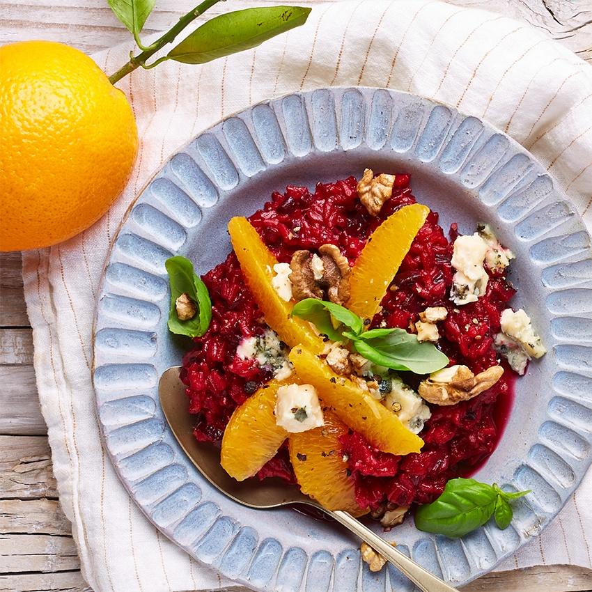 Rote-Bete-Risotto mit Orangen