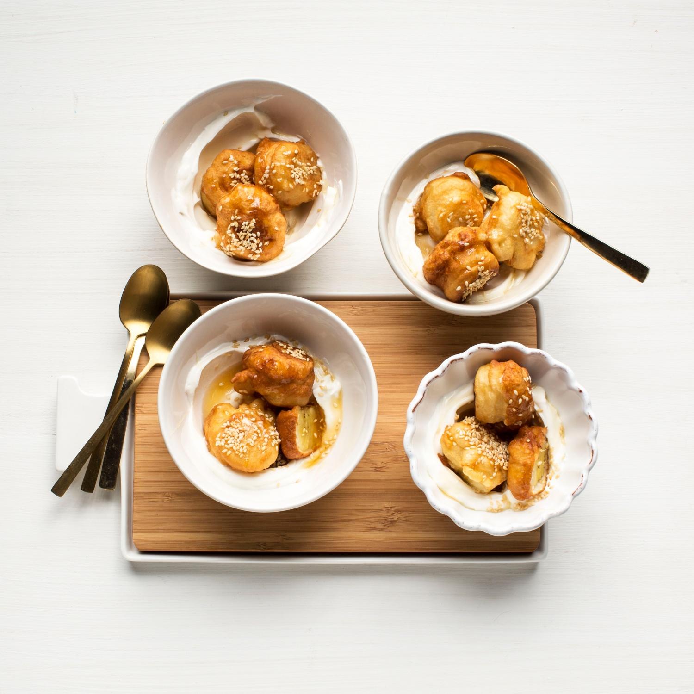 Gebackene Honigbanane mit griechischem Joghurt