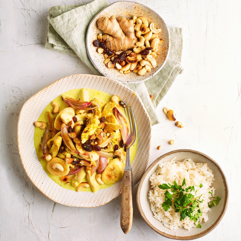 Bananen-Hähnchen-Curry mit Cashew-Reis