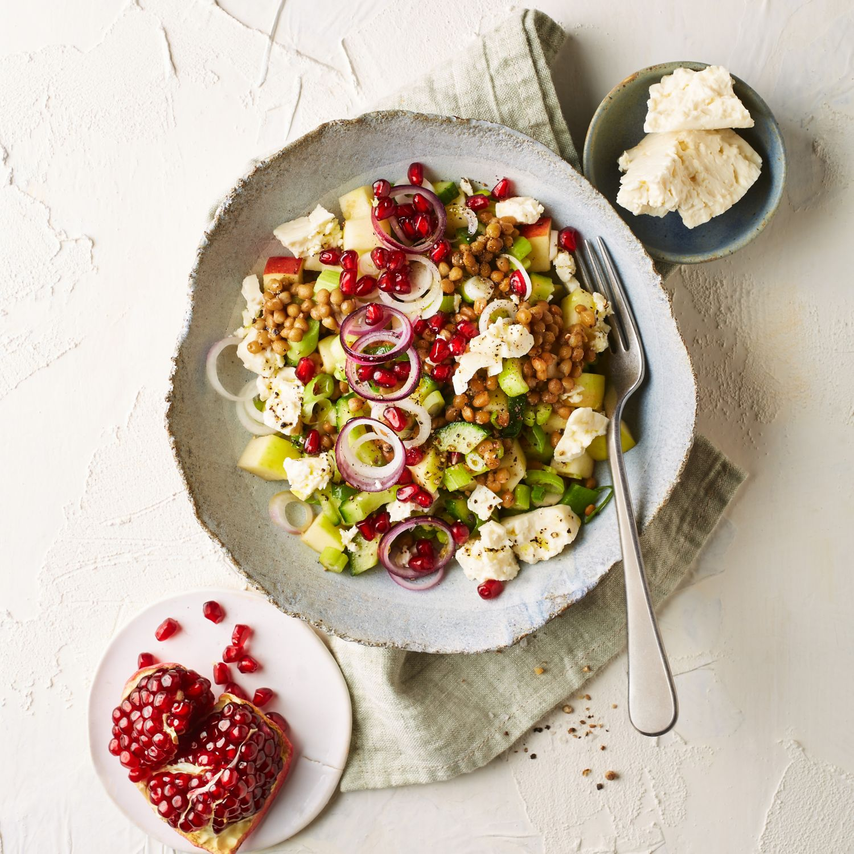Linsensalat mit Granatapfelkernen