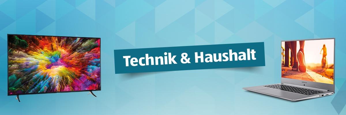 """Ein hellblauer Hintergrund mit einem Fernseher und einem Laptop. Dazwischen der Text """"Technik und Haushalt""""."""