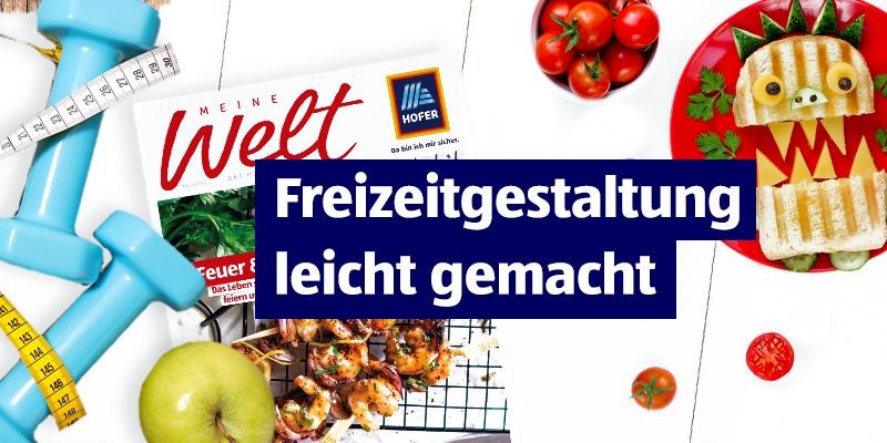 """Hanteln, MEINE Welt, Tomat und Käse im Hintergrund. Mittig platziert der Hinweis """"Freizeitgestaltung leicht gemacht""""."""