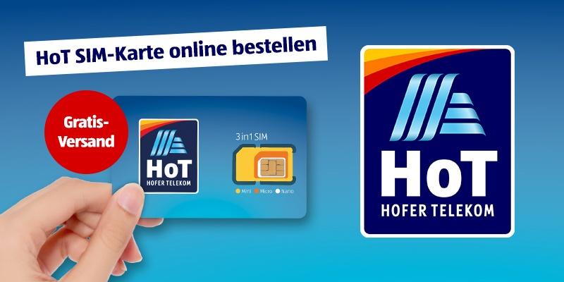 HoT SIM Karte bestellen mit gratis Versand.. Daneben das HoT Logo.