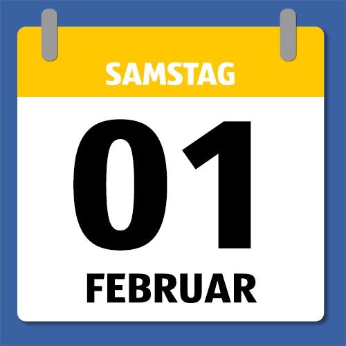 Ein Kalenderblatt, dass Samstag 01 Februar anzeigt.