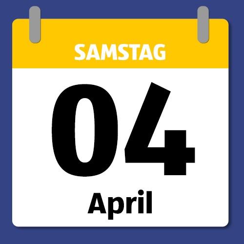 Ein Kalenderblatt, das Samstag den 04. April anzeigt.