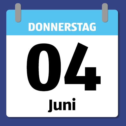 Ein Kalenderblatt, das Donnerstag den 4. Juni abbildet.