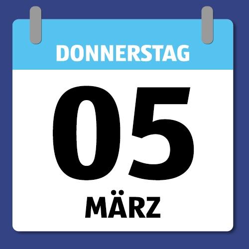 Ein Kalenderblatt, dass Donnerstag den 05. März abbildet.