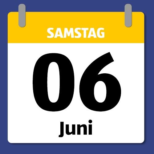 Ein Kalenderblatt, das Samstag den 06. Juni abbildet.