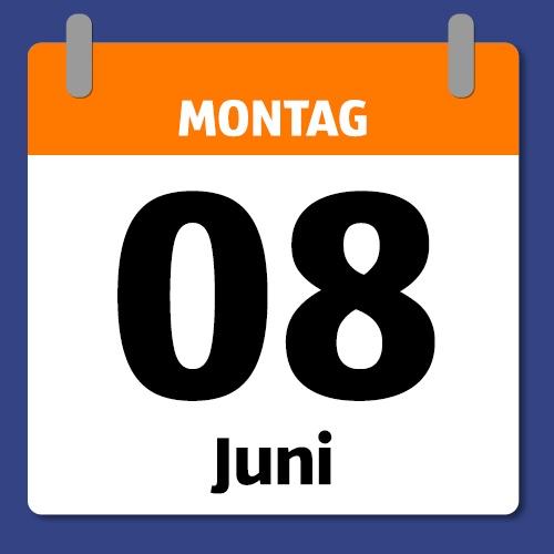 Ein Kalenderblatt, das Montag den 08. Juni abbildet.