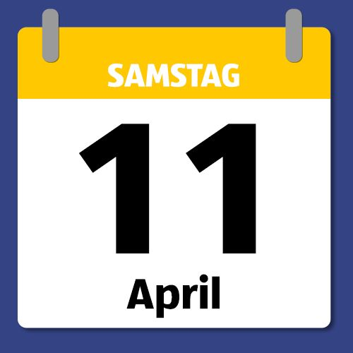 Ein Kalenderblatt, das Samstag den 11. April abbildet.
