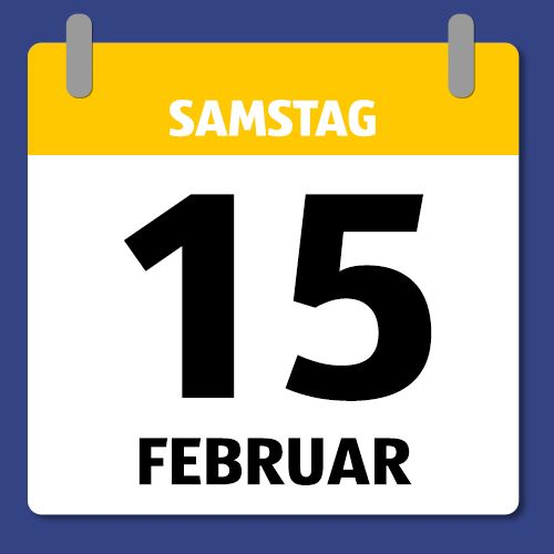Ein Kalenderblatt, dass Samstag den 15. Februar abbildet.
