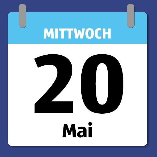 Ein Kalenderblatt, das Mittwoch den 20. Mai abbildet.