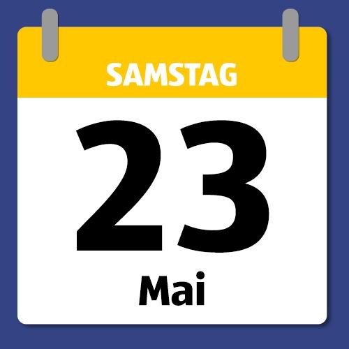 Ein Kalenderblatt, das Samstag den 23. Mai abbildet.