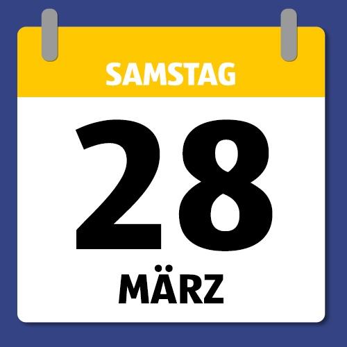 Ein Kalenderblatt, dass Samstag den 28. März abbildet.