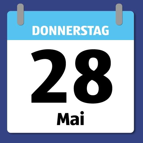 Ein Kalenderblatt, das Donnerstag den 28. Mai abbildet.