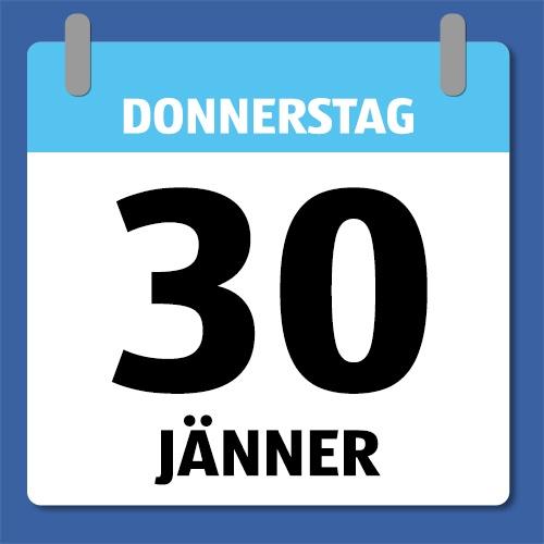 Ein Kalenderblatt, dass Donnerstag den 130 Jänner abbildet.