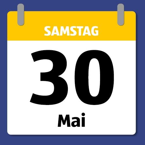Ein Kalenderblatt, das Samstag den 30. Mai anzeigt.