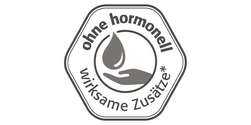 """""""ohne hormonell wirksame Zusätze""""-Logo"""