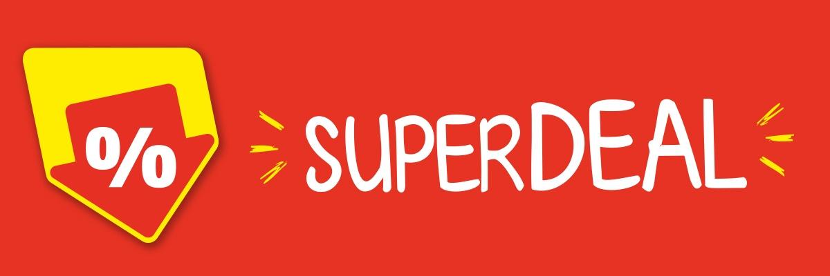 """Roter Hintergrund mit Text """"Superdeal"""""""