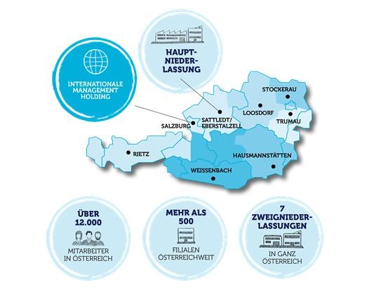Landkarte von Österreich mit Markierung für alle HOFER-Niederlassungen.