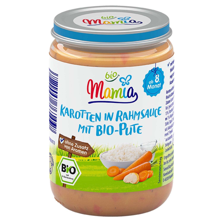 Mamia bio Karotten in Rahmsauce mit Bio-Pute 220 g
