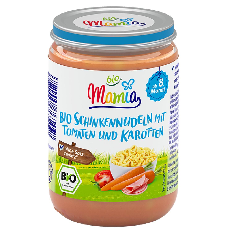 Mamia bio Bio Schinkennudeln mit Tomaten und Karotten 220 g