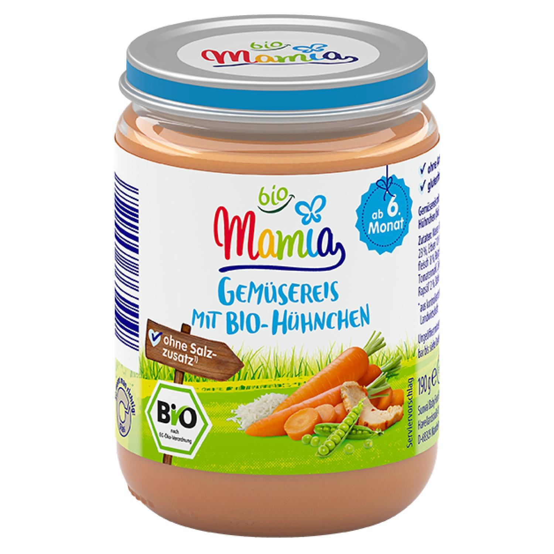Mamia bio Gemüsereis mit Bio-Hühnchen 190 g