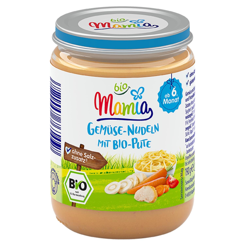 Mamia bio Gemüse-Nudeln mit Bio-Pute 190 g