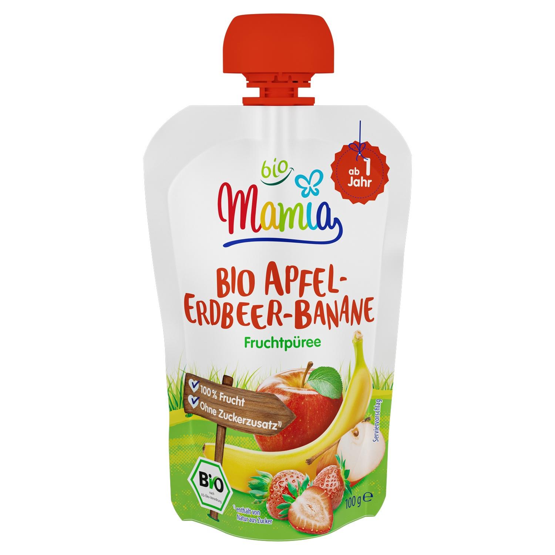Mamia bio Bio-Quetschbeutel Apfel-Erdbeer-Banane 100 g