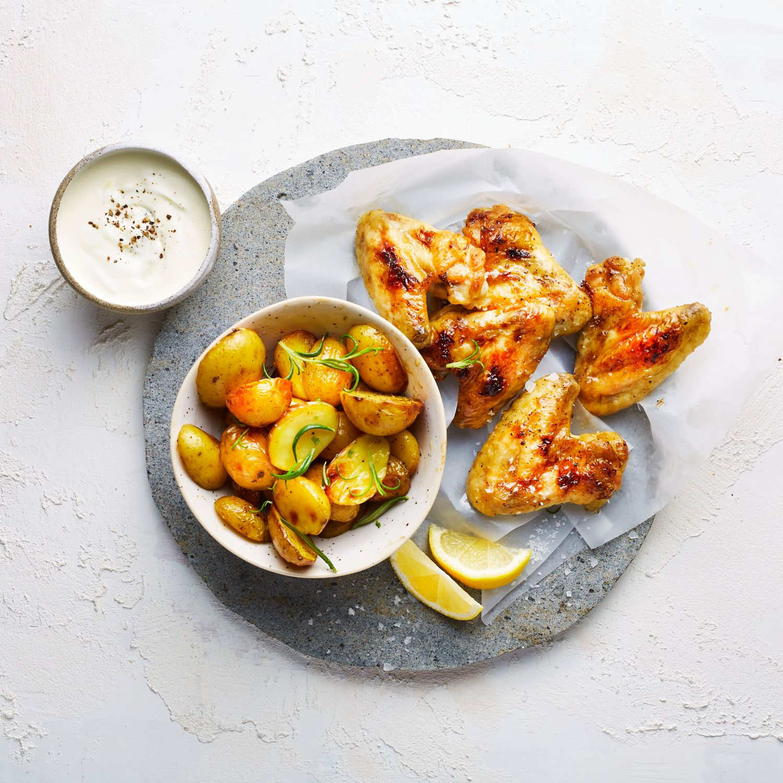 Rosmarin-Grillkartoffeln mit Chickenwings