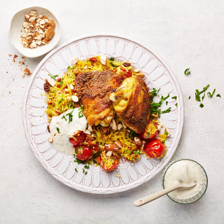 Hähnchen-Oberschenkel mit orientalischem Reis