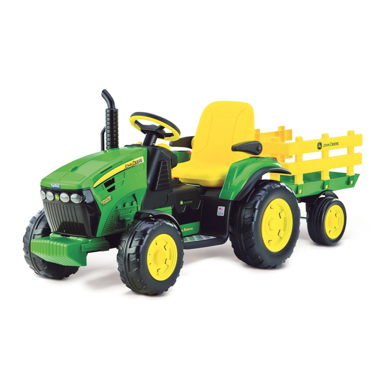 JOHN DEERE E-Traktor mit Anhänger