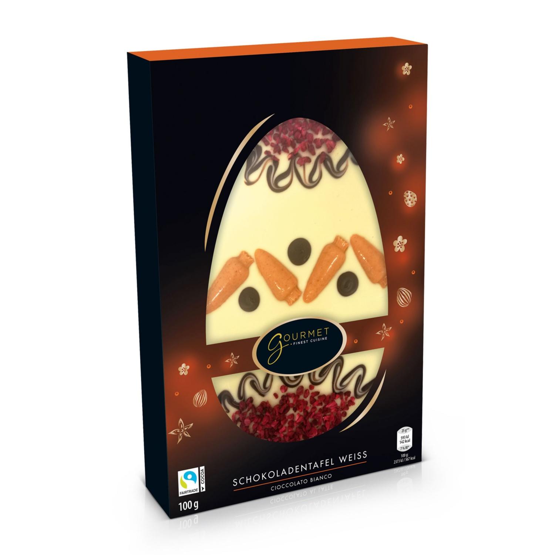 GOURMET Schoko-Tafel, Osterei weiße Schokolade