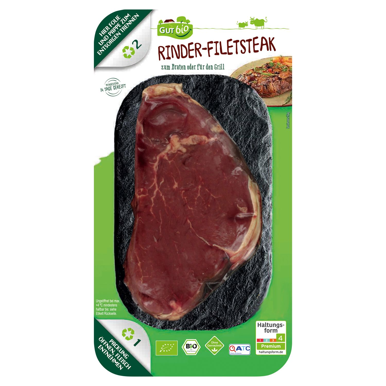 GUT bio Bio-Rinder-Filetsteak 142 g