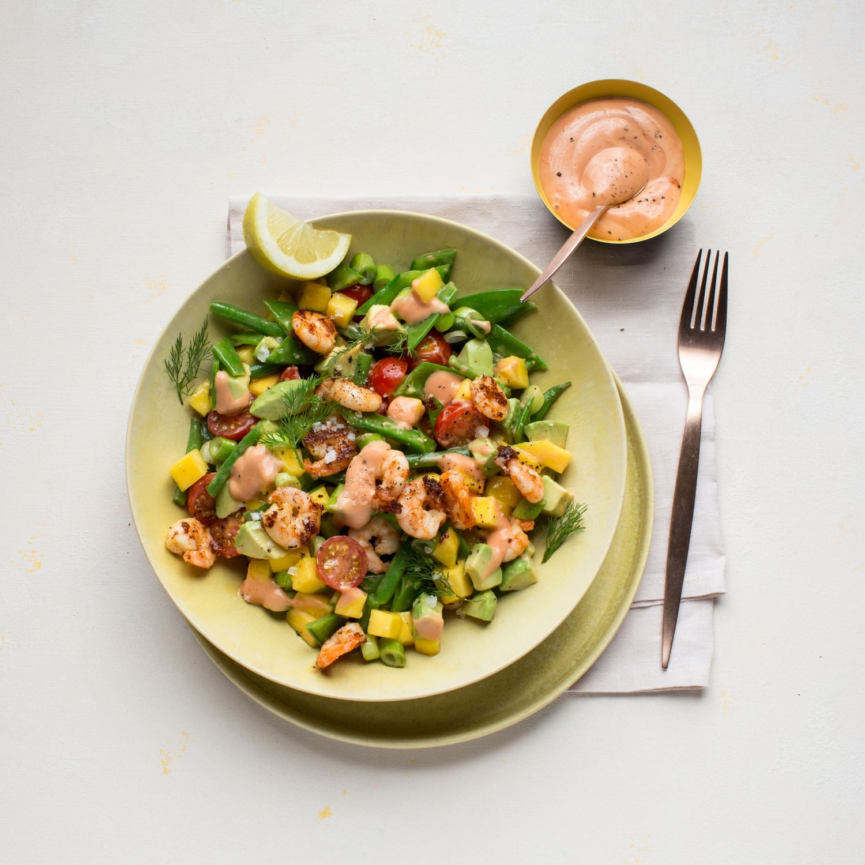 Avocado-Mango-Salat mit Garnelen