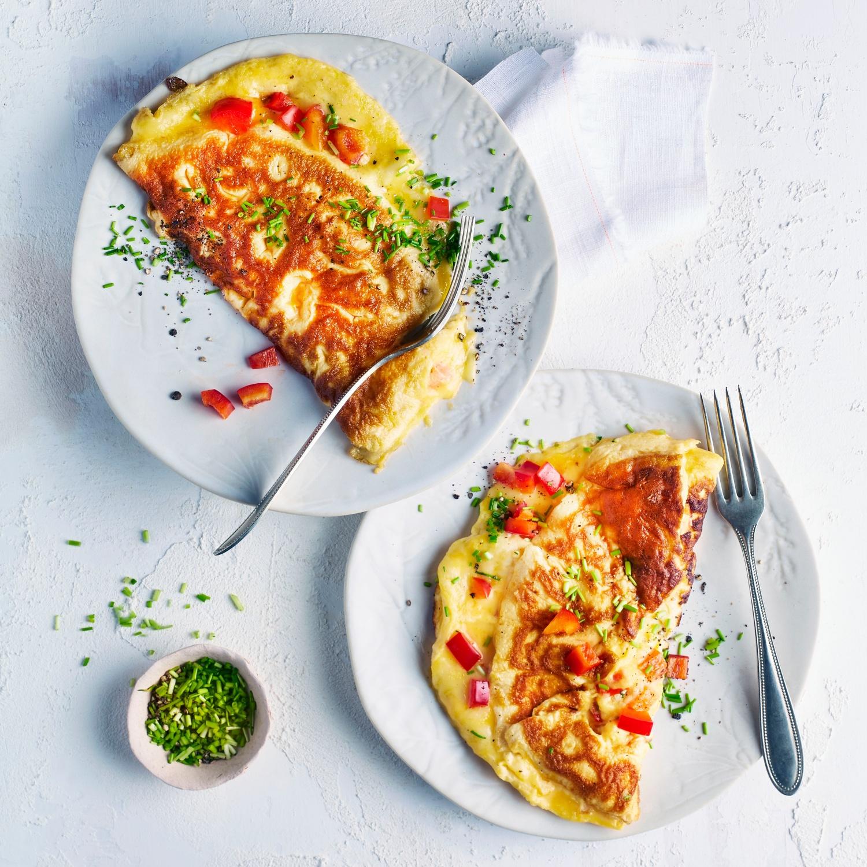 Omelett mit Paprika und Käse