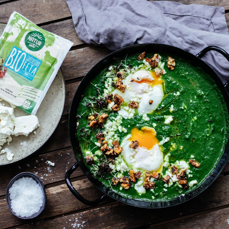 Spinat Frühstück Shakshuka Style