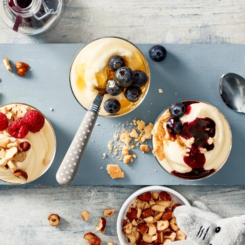 Selbstgemachter Frozen Joghurt mit drei Toppings