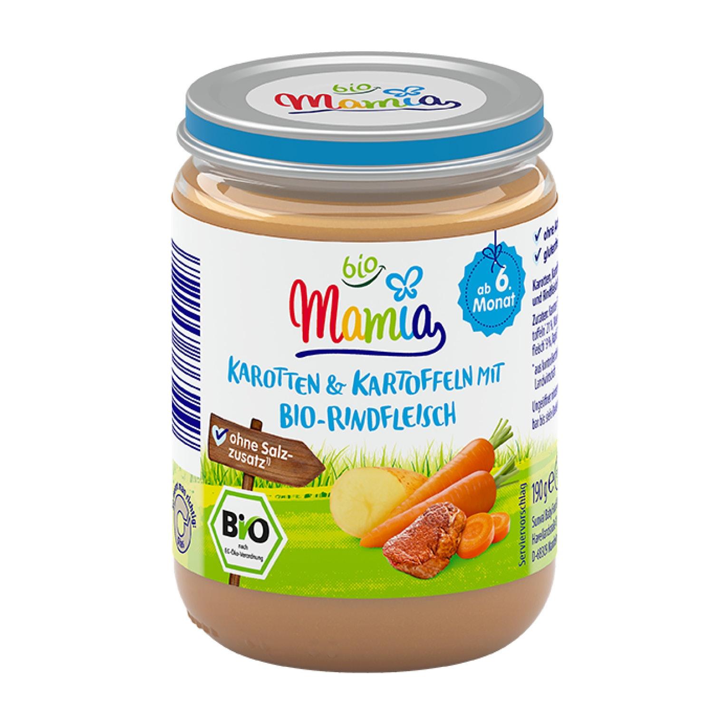 Mamia bio Karotten und Kartoffeln mit Bio-Rind 190 g