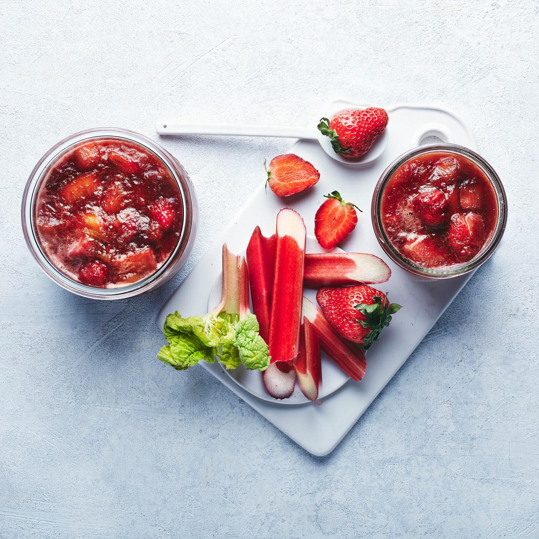Erdbeer-Rhabarberkonfitüre