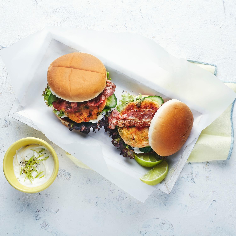 Gegrillte Garnelen-Burger mit Limettenmayo