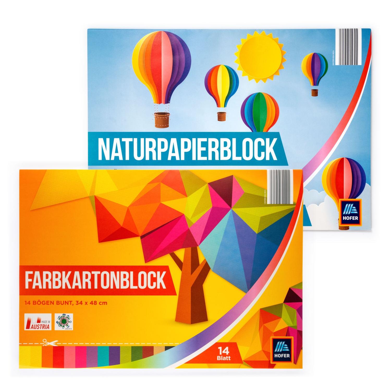 Naturpapier-/Farbkartonblock